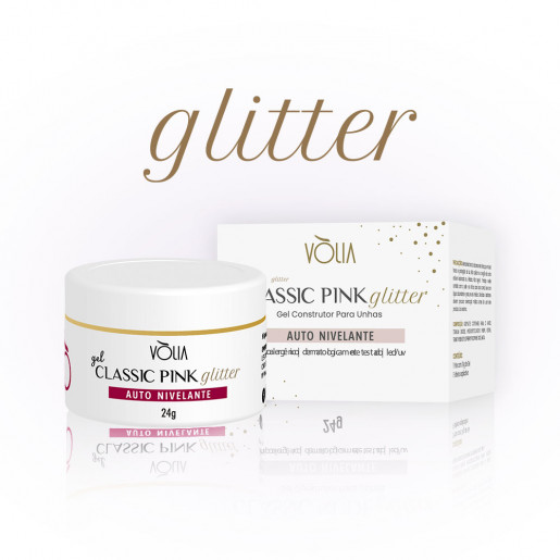 Gel Classic Pink Glitter Vòlia 24g